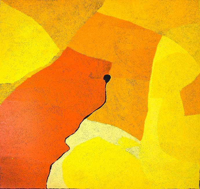 Peinture acrylique sur toile de l'artiste Pepai Jangala Carroll. Format : 180 x 170 cm. Provenance : centre d'art d'Ernabella. Photo : Aboriginal Signature gallery with the courtesy of the artist.